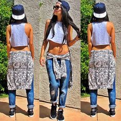 Throw on a hat, crop, and some boyfriend jeans. Love this outfit.