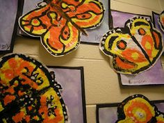 In Art class, second graders learned about Monarch butterflies and how each year a generation migrates to Mexico in the fall. Kindergarten Art, Preschool Art, First Grade Art, Second Grade, Grade 2, Butterfly Art, Monarch Butterfly, Butterfly Migration, Butterfly House