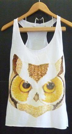 Face owl wildlife Owl tank top animal shirt white by CuteClassic, $12.00