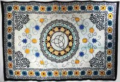 Created in an elaborate pattern of swirling Celtic Knots and spiraling, flower-coated vines, this tapestry boldly displays the triquetra symbol at its center, representing Maiden, Mother and Crone and body, mind and spirit. Patterns vary. Hand dyed broadcloth.