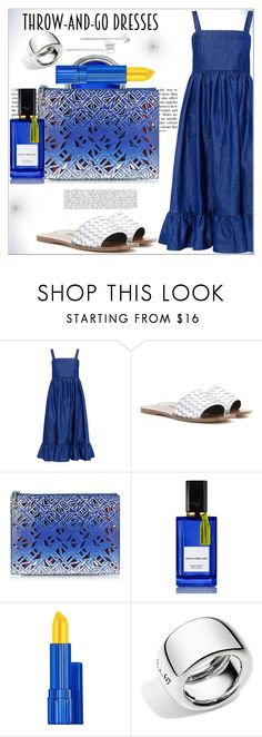 """Easy Peasy : Throw-and-Go-Dresses"" by dragananovcic ❤ liked on Polyvore featuring CO, Bottega Veneta, Kenzo, Diana Vreeland, Estée Lauder, Pomellato, L. Erickson, easypeasy, polyvoreeditorial and polyvorecontest"