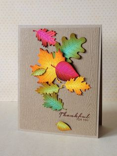 Lawn Fawn - Stitched Leaves Lawn Cuts dies _ gorgeous Autumn leaves card by Donna