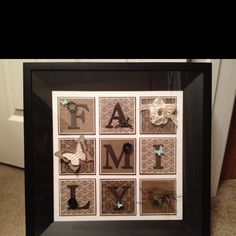 "Homemade ""FAMILY"" pocket frame wall hanging using Stampin' Up! products.  www.lovetocreate.stampinup.net"