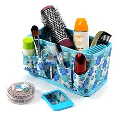 A must-have for organizing and storing all your beauty essentials Durable, spacious cosmetic bag Perfect for holding cosmetics, lipsticks, eye liners etc Nice design, potable and useful. Available in your choice of Blue, Pink, Purple, Yellow, or Green