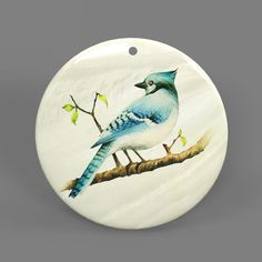 Color Printing Bird White Mother of Pearl Shell Pendant Necklace J1705 0098 #ZL #Pendnat