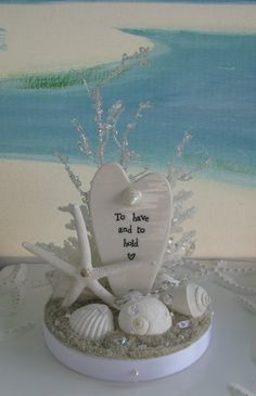White Seashell Beach Wedding Cake Topper~Starfish~White Coral~Coastal Beach Wedding Cake Topper~To Have and to Hold Heart