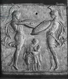 Plaque Campana, Dance of the Curetes, from Myrina, Asia Minor (terracotta) saving the infant Zeus from his father Cronus by clashing of sword and shield preventing his cries from being heard; Greek / Louvre, Paris, France / Alinari / The Bridgeman Art Library