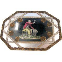 Unusual Antique Octagonal Dresden BonBon Candy Box W/ Glass Cover
