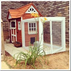 converted playhouse and chicken run.  Now that is what I call recycled!! need to find me a playhouse! ♥♥♥♥