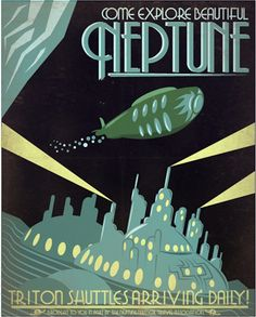 Neptune | Retro poster by Luke Minner and Naomi Wilson, Indelible Ink Workshop