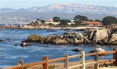 Monterey Bay, California. Looking from Pacific Grove toward the Hopkins Marina Station a research facility and Monterey Boats Works.