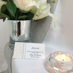 Grand Affair wedding place card.  Purchase as a DIY print and cut option or fully assembled.  Will look stunning on your white wedding tables.  #weddingplacecard #placecard #namecards #whitewedding