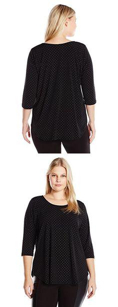 Karen Kane Women's Plus Size Dot Shirttail Tee, Black/Silver, 2X