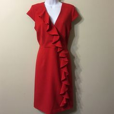 Red gorgeous dress size 12 Worn few times,after dry cleaning , washable,back zipper, Sandra Darren Dresses