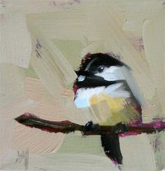 """two chickadees on branches"" - Original Fine Art for Sale - © Angela Moulton"