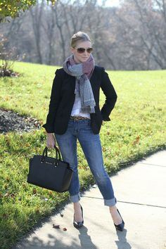 classic blazer, plaid scarf, mens wear  http://www.simplylulustyle.com/2013/12/menswear-for-women.html