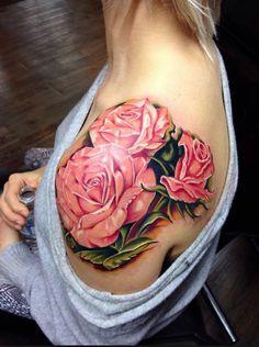 Gorgeous pink roses #InkedMagazine #floral #flowers #Inked #art #tattoos #tattoo
