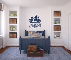 Pirate Ship Boat with Name  Vinyl Decal Wall Art by airetdesigns