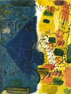 The Blue Face, 1967 by Marc Chagall. Naïve Art (Primitivism). portrait. Private Collection
