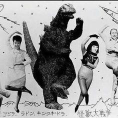 Godzilla, Pop Art, B & W Photo.