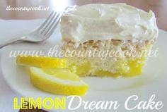 Lemon Dream Cake. Super easy. Only 4 ingredients. Just French vanilla cake mix, lemon pie filling, cool whip, & lemon icing