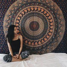 Indian Tapestry Wall Hanging Hippie Elephant Mandala Bedspread Ethnic Throw Art #HandmadeCraftaura #BedspreadTapestry