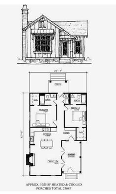 Modern House Floor Plans, Sims House Plans, Cabin House Plans, Tiny House Cabin, Small House Plans, Small Cottages, Cabins And Cottages, 2 Bedroom House Plans, Tiny House Exterior