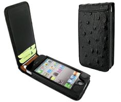 Piel Frama 525 Black Ostrich Magnetic Leather Case for Apple iPhone 4 / 4S $99.00 #PielFramaCase #AppleiPhone4SCase #BlackLeatheriPhone4SCase