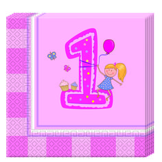 1-vuotisjuhlat tyttö; servetti