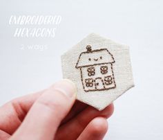 two ways to make embroidered hexagons // wild olive:Hexagon Tinies