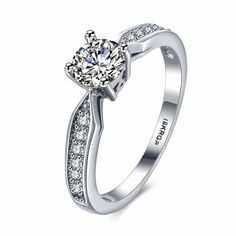 Engagement Wedding Rings Cubic Zirconia 18kgp white gold Colour CZ Stone Ring Jewelry Gift For Women anel Wholesale #Affiliate