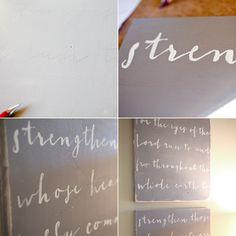 elm street life: DIY: Calligraphy wall art.