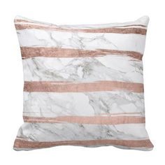 Elegant chic rose gold brush stripes white marble throw pillow