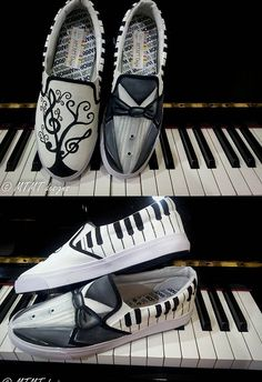 Piano themed shoes...id do something instead of the tux on the one shoe