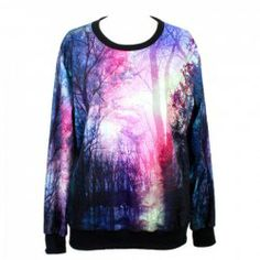 $14.46 Grove Pattern Cotton Blend Color Matching Sweatershirt For Women