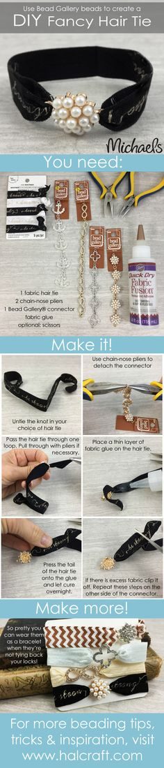 Use Bead Gallery beads to make these DIY Fancy Hair Ties for yourself or as a gift for someone special