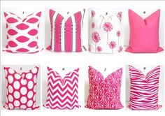 PINK PILLOWS.14x14 inch Decorator Pillow Cover.Printed Fabric Front and Back.Cushions.Nursery.Baby.36 cm