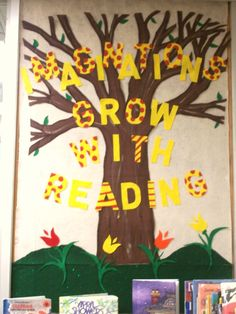 """Imaginations Grow with Reading"" library bulletin board display"