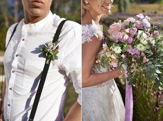 Wedding Inspiration Feature – Luxe Boho Meets Soft Lavender. Purple boho wedding bouquet and boutonniere. #weddingbouquet http://www.theweddingguru.ca/wedding-inspiration-feature-luxe-boho-meets-soft-lavender/