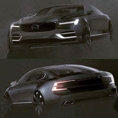 OFFICIAL: Volvo S90 Sketch 2017 via Instagram: https://www.instagram.com/p/BI0MQclgakn/ - facebook.com/CarDesignPro
