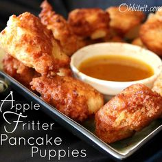 Apple Fritter Pancake Puppies with Maple Butter Dip