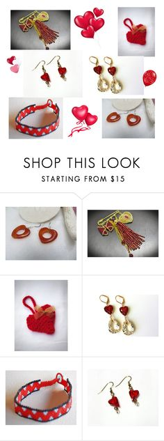 """""""RED HEARTS"""" by artistinjewelry ❤ liked on Polyvore"""