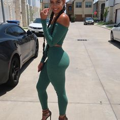 Image may contain: 1 person, standing, shoes, car and outdoor Backless Jumpsuit, Bodycon Dress, Beyond Skin, Bikini, Leggings, Classy Outfits, Hot, Sporty, Beautiful