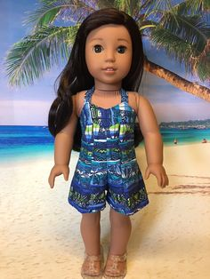 Hawaiian Romper fits American Girl Doll and 18 inch dolls by WeeWhimzyWardrobe on Etsy