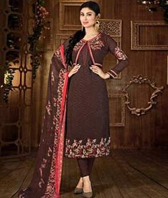 Buy Mouni Roy Brown Faux Georgette Churidar Suit 75246 online at lowest price…