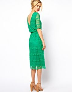 Shop for Midi Dress In Lace With Wrap Back - Cream by Asos at ShopStyle. Green Lace Dresses, Green Midi Dress, Midi Dresses, Fashion Dresses, Women's Fashion, Asos Dress, Dress Up, Dress Lace, Wrap Dress