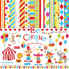 Circus clipart and digital scrapbooking papers pack Le Cirque Digital Scrapbook Paper, Scrapbook Pages, Digital Papers, Scrapbook Kit, Clip Art Pictures, Art Images, Clipart, Retro Poster, All Paper