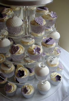 Purple and Lilac Hearts Cupcake Tower by The Clever Little Cupcake Company (Amanda), via Flickr