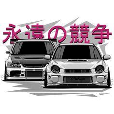 Subaru STI vs Mitsubishi Evolution. T-shirts, covers, stickers, posters - already available in my… - #car #cartuning #tuningcar #cars #tuning #cartuningideas #cartuningdiy #autoracing #racing #auto #racingauto #supercars #sportcars #carssports