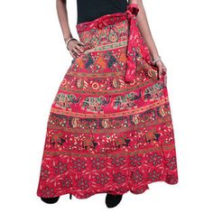 Mogulinterior Indi Wrap Around Skirt Red printed Hippie Boho Long Wrap Dress for Womens
